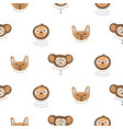 animal heads fun cute seamless pattern vector image