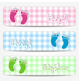Baby shower banners with footprints vector image vector image