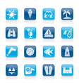 Beaches and summer icons vector image vector image