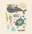 beautiful marine poster with turtle sperm whale vector image