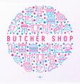 butcher shop concept in circle vector image vector image