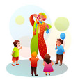 cartoon clown with colorful hair shows magic trick vector image vector image