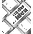 creative idea on computer keyboard key button vector image vector image