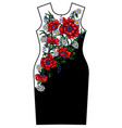 design dress with red poppy and chamomile vector image vector image