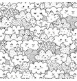 doodle clouds black and white seamless pattern vector image vector image