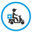 Drugs Motorbike Delivery Rounded Icon vector image vector image