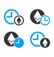 ethereum credit time icon set vector image