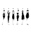 fashion models in sketch style collection vector image vector image
