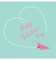 Flying paper plane Big heart Valentines Day vector image vector image