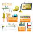 food court interior elements cartoon set vector image vector image