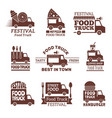 food truck logo street festival van fast catering vector image vector image