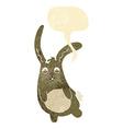 funny cartoon rabbit with speech bubble vector image vector image