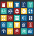gift icons set on color squares background for vector image vector image