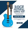 guitar electric instrument label vector image