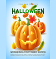 halloween pumpkin autumn leaves vector image vector image