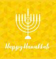happy hanukah calligraphic with menorah vector image vector image