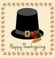 happy thanksgiving with pilgrim hat vector image vector image