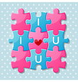 Jigsaw puzzle pieces with words I love you vector image vector image