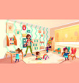 kids in montessori school classroom cartoon vector image vector image