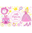little princess cute pink set objects icons vector image vector image