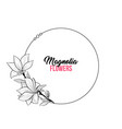 magnolia contour drawing branch round frame for vector image