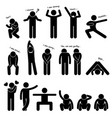 man person basic body language posture stick vector image