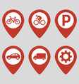 map pin location icons set on gray background vector image