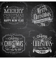 merry christmas emblems chalk2 vector image vector image