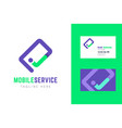 mobile service logo and business card template vector image