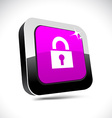 Padlock 3d square button vector image vector image