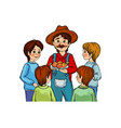 peasant with boys vector image
