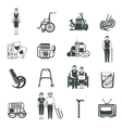 Pensioners Life Black White Icons Set vector image vector image