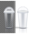 plastic cup transparent single clear vector image vector image
