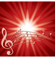 red background with music notes and flash vector image vector image
