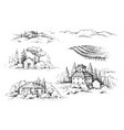 rural scene with houses vineyard and trees sketch vector image