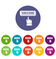 subscribe icons set color vector image
