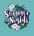 summer nights typography banner round design vector image vector image