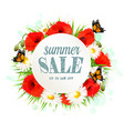 summer sale background with poppies daisies and vector image