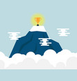 trophy on top of mountain vector image vector image