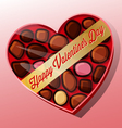 valentines day candy heart shaped box vector image vector image