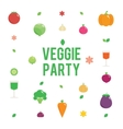 Veggie garden party poster with vegetables icons vector image vector image