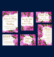 wedding greeting cards of flowers vector image vector image