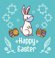 white easter bunny wearing a face mask near vector image vector image