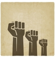 fist independence symbol old background vector image