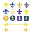 Fleur de lis - French symbol gold and navy blue vector image