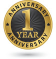 1 year anniversary gold label vector image vector image