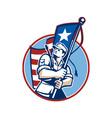 American Patriot Serviceman Soldier Flag Retro vector image vector image
