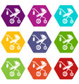 baby carriage classy icons set 9 vector image vector image