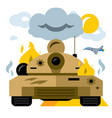 battle tank crash flat style colorful vector image vector image