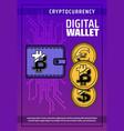 bitcoin cryptocurrency digital blockchain wallet vector image